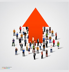 Growth chart and progress in people crowd vector