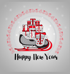 happy new year gift boxes on a sledge vector image