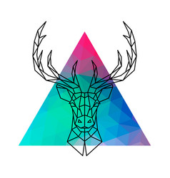 Head of a deer with horns in geometric style vector