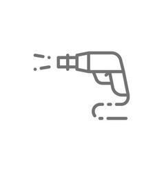 High pressure car wash spray gun line icon vector
