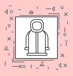 Hoody coat icon thin line in pink frame vector