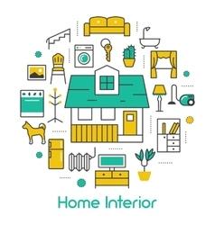 House Interior Line Art Thin Icons Set vector image