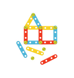 house made of colorful plastic details children vector image
