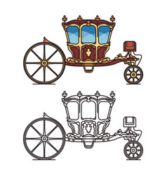 Isolated retro carriage or cab for marriage vector