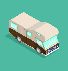 isometric camping car travelling advertisement vector image