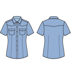 jean shirt front and back vector image