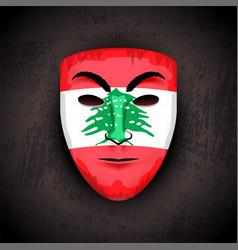 Lebanon anonymous people opinion mask on black vector