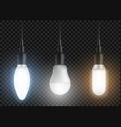 led bulbs set glowing lamps modern lightbulbs vector image