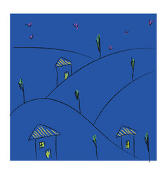 Line art a village in night over blue vector