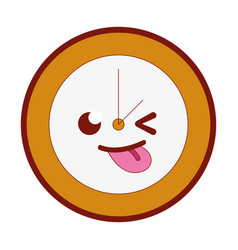 line color funny circle clock kawaii cartoon vector image
