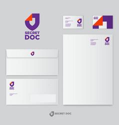 logo secret doc letterhead envelopes business card vector image