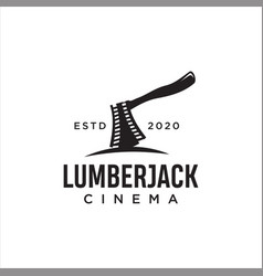 lumberjack movie reel logo blackaxe cinematography vector image