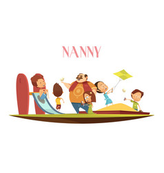 man babysitter with kids cartoon vector image