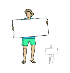 man with relaxing beach cloth holding big blank vector image