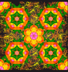 Mandala colored on a orange green and gray colors vector