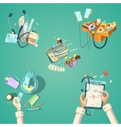 Medical cartoon retro set vector