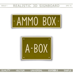 Military signboard - ammo box vector