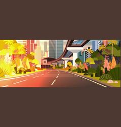 modern city sunset view horizontal banner highway vector image