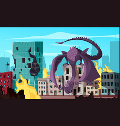 Monster attacking city vector