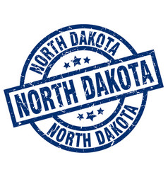 North dakota blue round grunge stamp vector