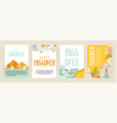 Passover greeting car set seder pesach invitation vector