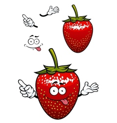 Playful smiling red strawberry fruit cartoon vector