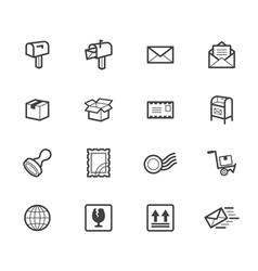 post element black icon set on white background vector image