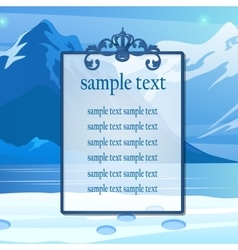 Poster for text on the snowy mountains background vector image