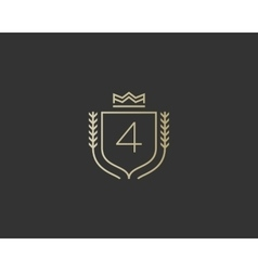 Premium number 4 ornate logotype Elegant numeral vector