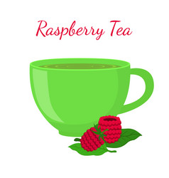 Raspberry tea in cup with berries vector