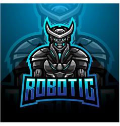 Robotic esport mascot logo design vector