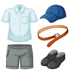 School uniform set on white background vector