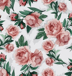 Seamless floral pattern with pink peony vector