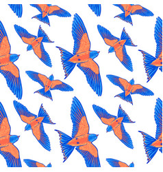 Seamless pattern blue tropical bird on a white vector