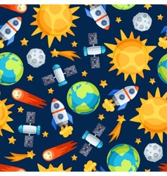 Seamless pattern solar system planets and vector