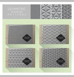 Set geometric seamless pattern 3 vector