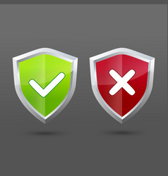 set informatic shield icons check and cross vector image