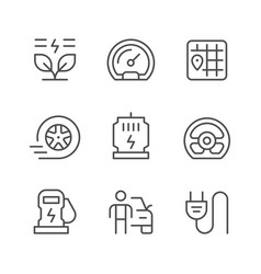 set line icons of electric car vector image