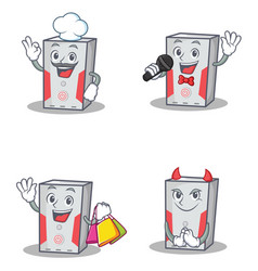 Set of computer character with chef karaoke vector