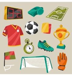 Set of sports soccer football symbols vector
