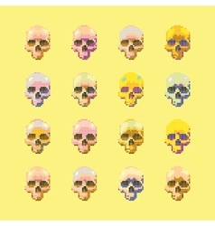 set of stylized skull on a yellow vector image vector image