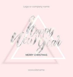 silver text happy new year and merry christmas vector image