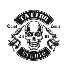 Skull and tattoo electric machines emblem vector