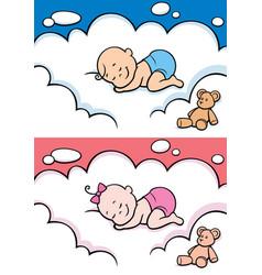 Sleeping baby in diaper vector