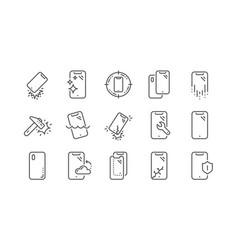 Smartphone protection line icons tempered glass vector