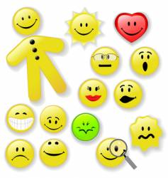 smiley face button emoticon family vector image vector image