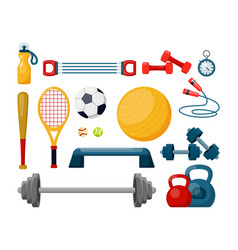 sport equipment flat set vector image
