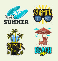 summer time beach life hand lettering vector image