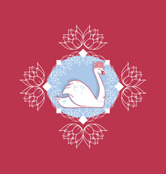 swan cameo with water lilies seamless vector image