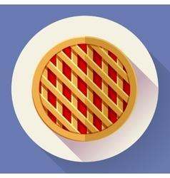 Sweet apple pie icon Flat designed style vector